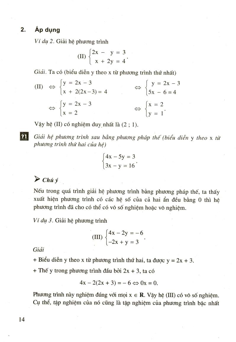 Giải hệ phương trình bằng phương pháp thế